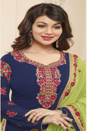 Ayesha Takia Blue Georgette Heavy Embroidery on Neck and Sleeve with Embroidery Dupatta  Salwar Kameez