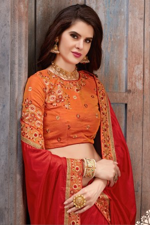 Graceful Red Two Tone Silk Embroidered Lace Border with Embroiderd Blouse Saree