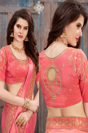 Bewitching Pink Two Tone Silk Embroidered Lace Border with Embroiderd Blouse Saree
