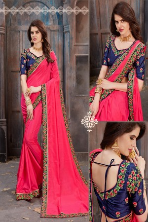 Picturesque Magenta Two Tone Silk Embroidered Lace Border with Embroiderd Blouse Saree