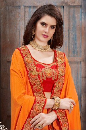Beautiful Orange Two Tone Silk Embroidered Lace Border with Embroiderd Blouse Saree
