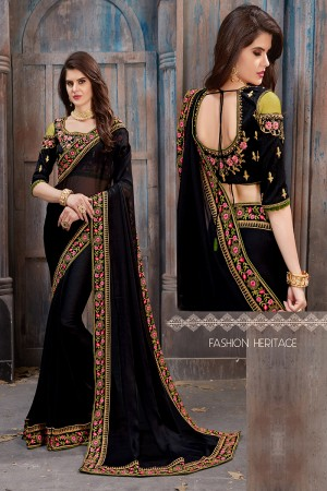 Refreshing Black Moss Chiffon Embroidered Lace Border with Embroiderd Blouse Saree