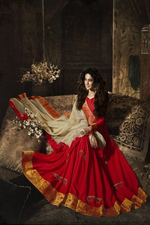 Jennifer Winget Red Slub Satin Heavy Embroidery on Neck and Sleeve with Embroidery Dupatta  Salwar Kameez