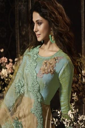 Jennifer Winget Chiku&Pista Green Banglori&Lycra 3D Flower Patch with Coding Embroidery Work on Dupatta  Salwar Kameez