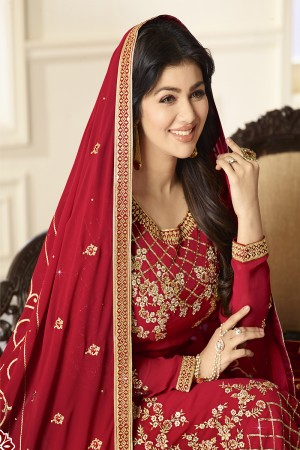Ayesha Takia Red Georgette Heavy Embroidery on Neck and Sleeve with Embroidery Dupatta  Salwar Kameez