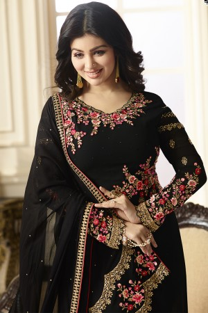 Ayesha Takia Black Georgette Heavy Embroidery on Neck and Sleeve with Embroidery Dupatta  Salwar Kameez