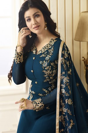Ayesha Takia Aqua Georgette Heavy Embroidery on Neck and Sleeve with Embroidery Dupatta  Salwar Kameez