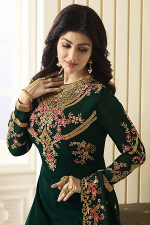 Ayesha Takia Dark Green Georgette Heavy Embroidery on Neck and Sleeve with Embroidery Dupatta  Salwar Kameez
