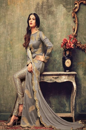 Delightful Warm Grey Net Heavy Embroidery on Neck and Sleeve Semi  Stitch Salwar Kameez