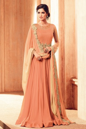 Dazzling Orange Georgette Heavy Embroidery on Neck and Sleeve Semi  Stitch Salwar Kameez