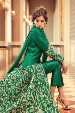 Stylish Green Taffeta Silk Heavy Embroidery on Neck and Sleeve with Diamond Work   Salwar Kameez