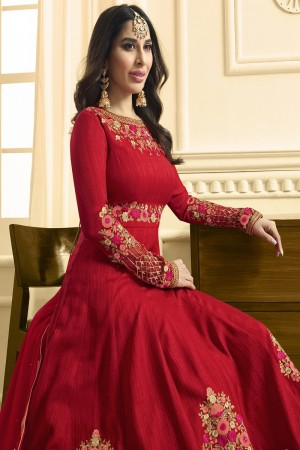 Sophie Chaudhary Red Raw Silk Heavy Embroidery on Neck and Sleeve with Kali Work   Salwar Kameez