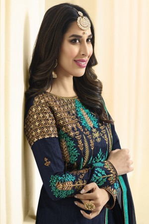 Sophie Chaudhary Blue Raw Silk Heavy Embroidery on Neck and Sleeve with Kali Work   Salwar Kameez
