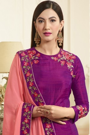 Gauhar khan Wine Banarasi Silk Heavy Embroidery on Neck and Sleeve with Embroidery Lace Border Dupatta   Salwar Kameez
