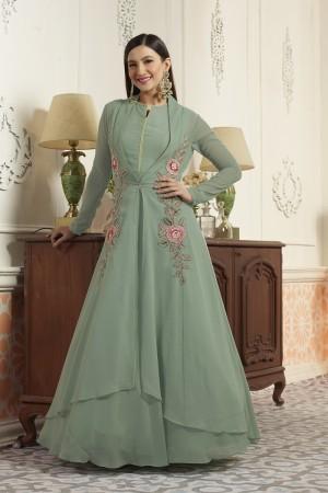 Gauhar khan Pista Green Georgette Embroidery Patch Work   Salwar Kameez