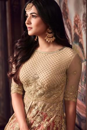 Mesmerising Cream & Red Net Thread & Zari Embroidery with Diamond Work  Anarkali Suit