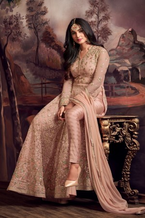Appealing Light Orange Net Thread & Zari Embroidery with Diamond Work  Anarkali Suit