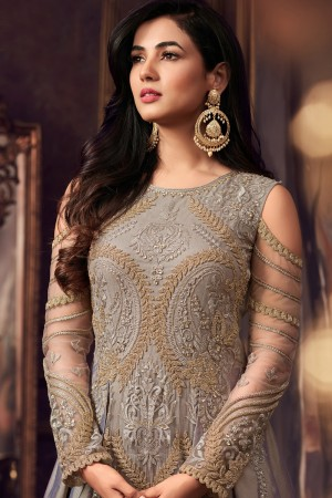 Remarkable Grey Pure Silk Thread & Zari Embroidery with Diamond Work  Anarkali Suit