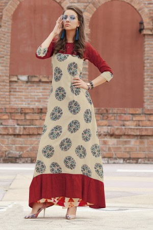Dashing Lilots Multi Color Rayon Print with Fancy Botton and Pompom  Kurti