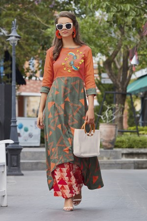 Versatile Lilots Multi Color Rayon Print with Fancy Botton and Pompom  Kurti