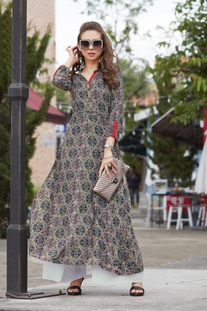 Dazzling Lilots Multi Color Rayon Print with Fancy Botton and Pompom  Kurti