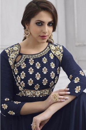 Mind Blowing Blue Tafetta Silk Heavy Embroidery Anarkali Salwar Suit