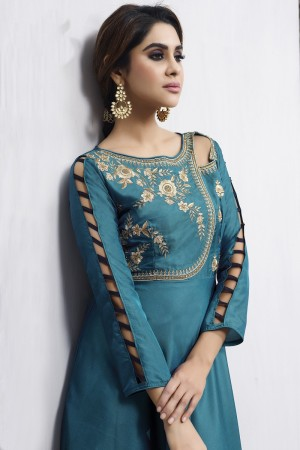 Charismatic Aqua Tafetta Silk Heavy Embroidery Anarkali Salwar Suit