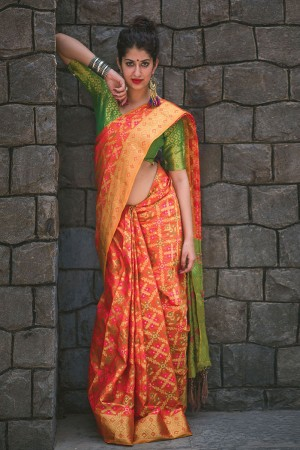 Distinctive Amber Weaving Patola Silk Saree