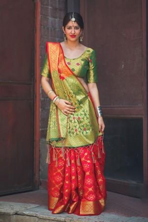 Classy Maroon Weaving Patola Silk Saree