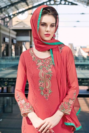 Auspicious Red Georgette Heavy Embroidery On Neck and Sleeve Dress Material