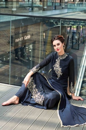 Amazing Navy Blue Georgette Heavy Embroidery On Neck and Sleeve Dress Material