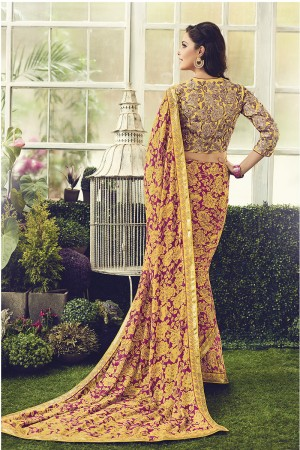 Mind Blowing Yellow & Red Viscoss Creap Sequnce Embroidery Lace Border with Embroidery Blouse Saree