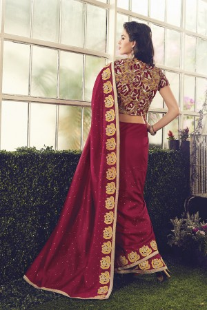 Vibrant Maroon Chanderi cotton Sequnce Embroidery Lace Border with Embroidery Blouse Saree