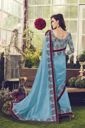 Marvelous Sky Blue Printed Chanderi Cotton Sequnce and Thread Embroidery Lace Border with Embroidery Blouse Saree