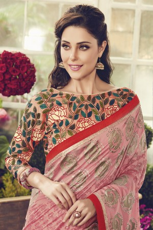 Pleasant Peach Printed Chanderi Cotton Sequnce Embroidery and Foile Print Lace Border with Embroidery Blouse Saree