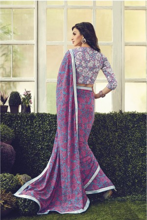 Rust Purple & Pink Viscoss Creap Sequnce Embroidery Lace Border with Embroidery Blouse Saree
