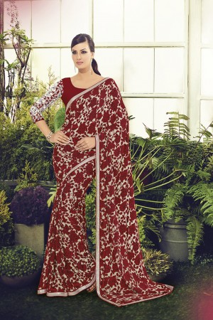 Impressive Red Viscoss Creap Sequnce Embroidery Lace Border with Embroidery Blouse Saree