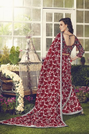 Stylish Red Viscoss Creap Sequnce Embroidery Lace Border with Embroidery Blouse Saree