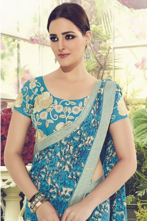 Peppy Sky Blue Viscoss Creap Sequnce Embroidery Lace Border with Embroidery Blouse Saree