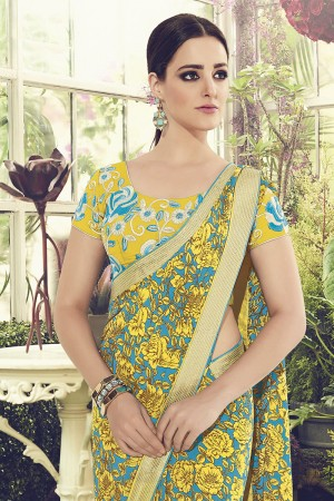 Fab Yellow & Sky Blue Viscoss Creap Sequnce Embroidery Lace Border with Embroidery Blouse Saree