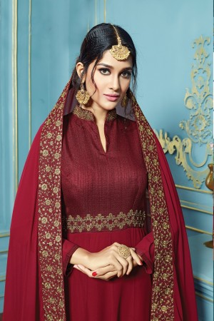 Brilliant Maroon Georgette  embroieded dupatta with khatli work  Anarkali suit