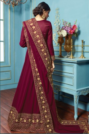 Striking wine  Georgette embroieded dupatta with khatli work  Anarkali suit