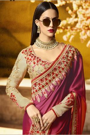 Attractive Red Silk Heavy Embroidery Badala Zari and Sequance Work Saree