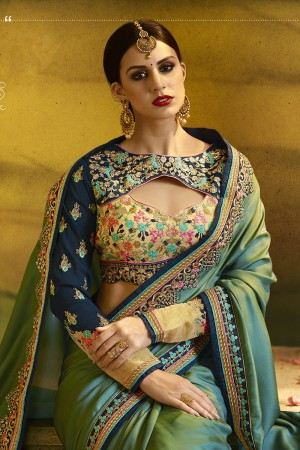 Enthralling Parrot Green Silk Heavy Embroidery Badala Zari and Sequance Work  Saree