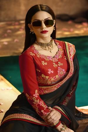 Angellic Black Silk Heavy Embroidery Badala Zari and Sequance Work Saree