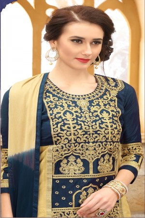 Charming Nevy Blue cotton Heavy Embroidery On Neck  with Lace Border  Dress Material
