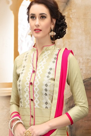 Exuberant Cream cotton Heavy Embroidery On Neck  with Lace Border  Dress Material