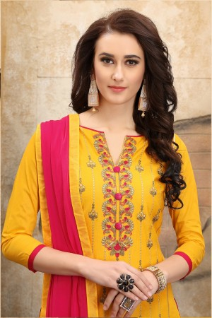 Awesome Yellow cotton Heavy Embroidery On Neck  with Lace Border  Dress Material