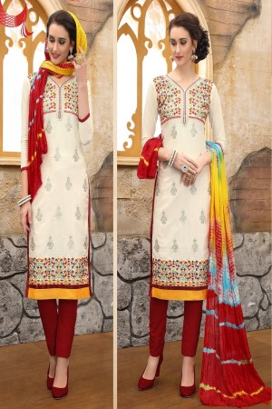 Elegant Cream cotton Heavy Embroidery On Neck  with Lace Border  Dress Material