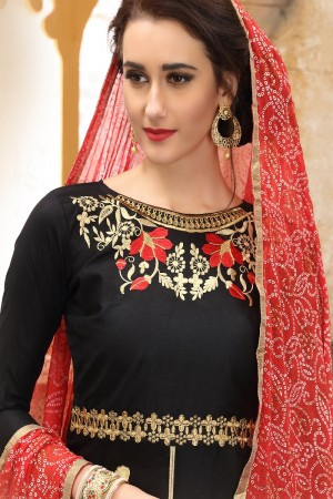 Outstanding Black  cotton Heavy Embroidery On Neck  with Lace Border  Dress Material